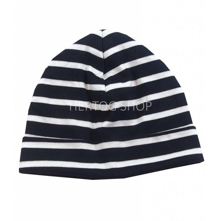 Bretonse streep-muts in Zwart met witte strepen