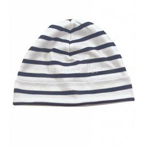 Bretonse streep-muts  Wit - marineblauw