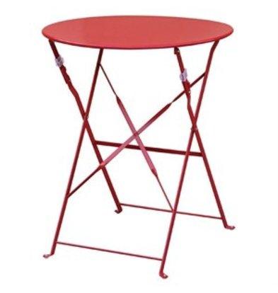 Bolero Bolero klappbarer Stahltisch rund 60cm rot