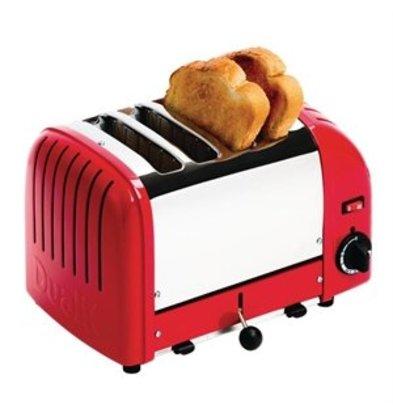 XXLselect Dualit Toaster 4 Edelstahl + Rot