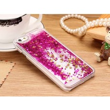 Iphone 5/5s Silicone glitter case roze