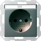 Gira wandcontactdoos antraciet met tekstkader kinderveilig 046228