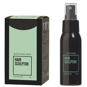 Hair Sculptor Hair Building Fibres Zwart + Hair Sculptor Fixing Spray