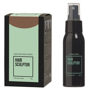 Hair Sculptor Hair Building Fibres Lichtbruin + Hair Sculptor Fixing Spray