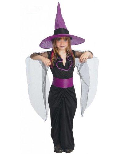 Magicoo Kostüm Hexe für Kind schwarz-lila