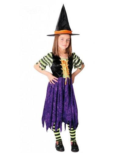 Magicoo Hexenkostüm für Kinder schwarz-lila-orange