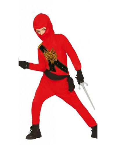 Magicoo Ninja Kostüm für Kinder rot mit Dragon-Print