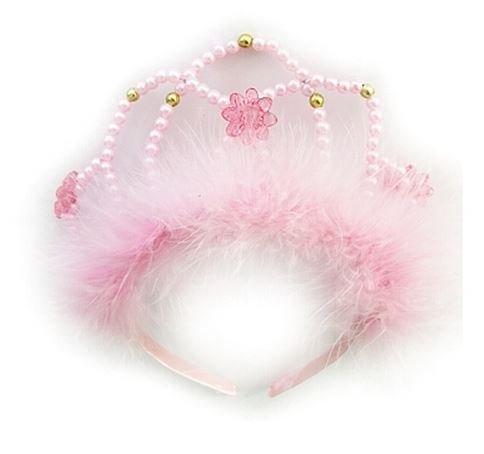 diadem rosa mit perlen und federn magicoo. Black Bedroom Furniture Sets. Home Design Ideas