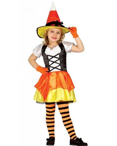 Magicoo Hexenkostüm für Mädchen orange-gelb-weiß