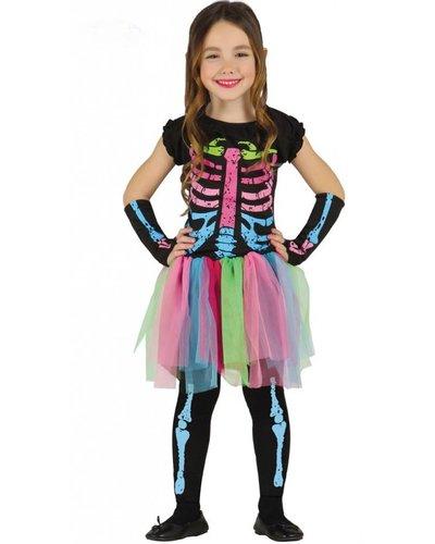 Magicoo Skelett Kostüm für Kinder bunt
