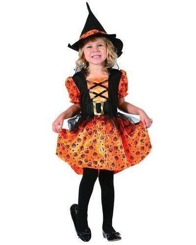 Magicoo Kürbishexe - Hexenkostüm Kleinkinder Größe 92-104 orange-schwarz