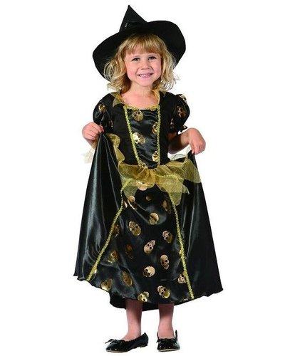 Magicoo Hexenprinzessin - Halloween Hexenkostüm Kleinkind Größe 92-104 gold-schwarz
