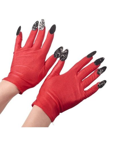 Magicoo Teufelin/ Teufel Handschuhe rot mit Nägeln