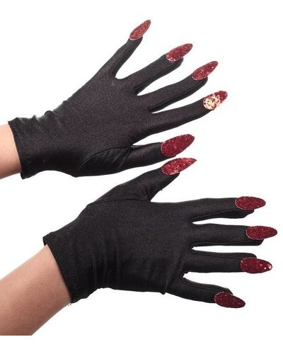 Magicoo Teufel / Vampir Handschuhe schwarz mit Nägeln