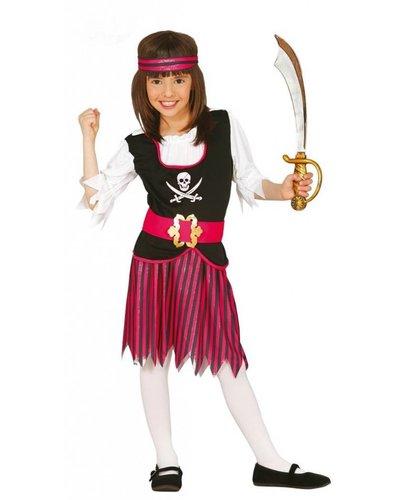 Magicoo Seeräuberin - Piratin Kostüm Kinder pink-schwarz-weiß