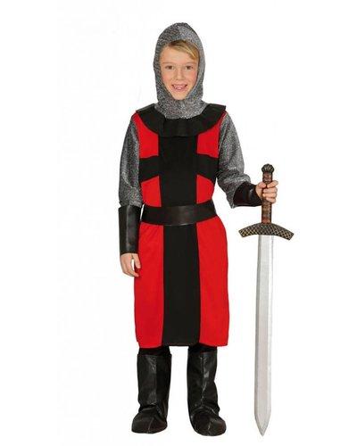 Kinder Ritterkostüm schwarz-rot-grau