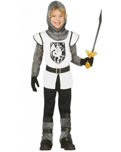 Mittelalterliches Kostüm Ritter Jungen weiß-schwarz