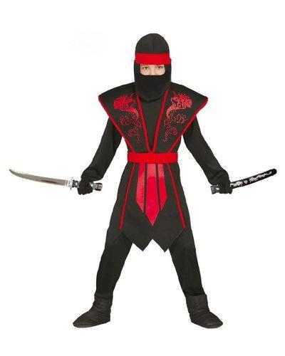 Magicoo Ninja Kostüm Kinder rot-schwarz mit schicker Rüstung