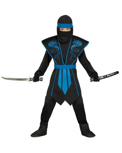 Magicoo Ninja Kostüm für Kind blau-schwarz - Ninja Kinder Kostüm blau