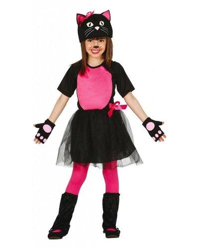 Magicoo Katzenkostüm für Mädchen pink-schwarz