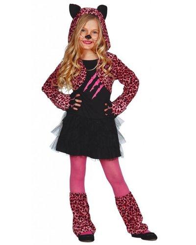 Magicoo Leopard Kostüm für Mädchen schwarz-pink