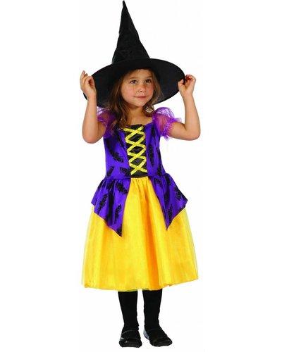 Magicoo Kleine Fledermaus Hexe - Hexenkostüm Kleinkind Größe 92-104 lila-gelb