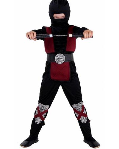 """Magicoo Kostüm Ninja für Kinder rot burgundrot mit """"Muskeln"""""""