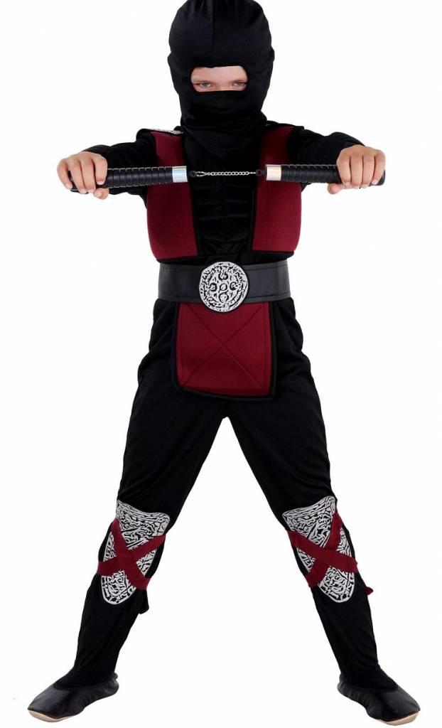 kost m ninja f r kinder rot burgundrot mit muskeln magicoo. Black Bedroom Furniture Sets. Home Design Ideas