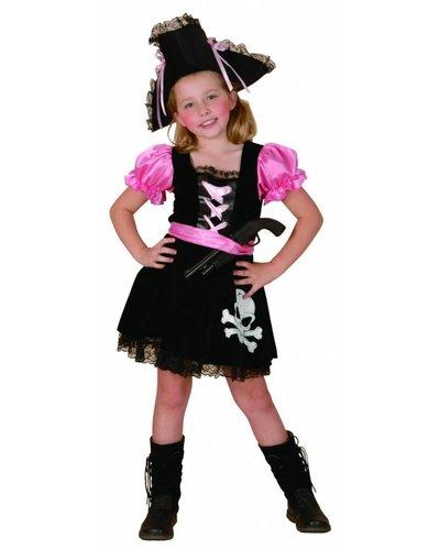 Magicoo Piratin Kostüm für Mädchen pink-schwarz-weiß
