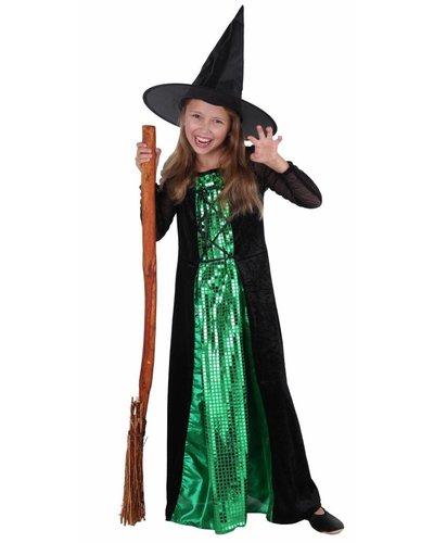 Magicoo Hexenkostüm Kind - Hexenkleid für Mädchen Deluxe grün-schwarz
