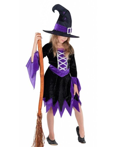 Magicoo Hexe Magierin - Hexenkostüm für Kinder lila-schwarz - Hexenkostüm Mädchen