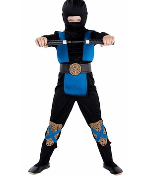 "Magicoo Deluxe Ninja Kostüm Kinder blau schwarz mit ""Muskeln"""