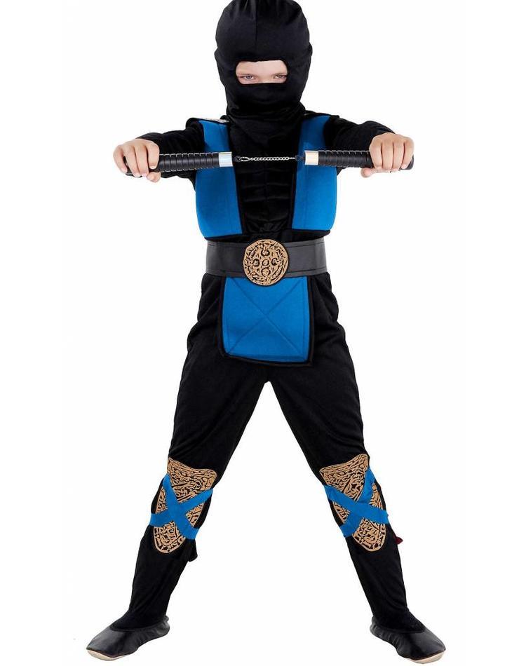 kinderkost m ninja blau schwarz mit muskeln magicoo. Black Bedroom Furniture Sets. Home Design Ideas