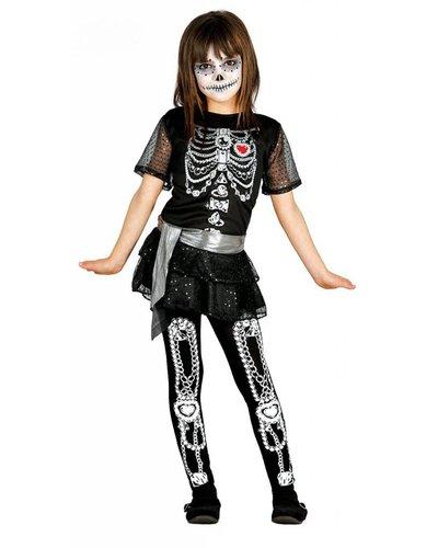 Magicoo Mexikanisches Skelett Kostüm für Mädchen