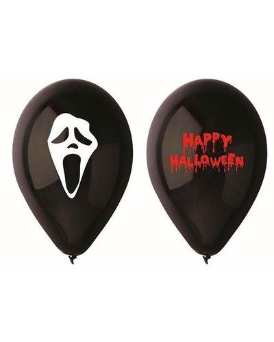 5 Schwarze bedruckte Luftballons für Halloween-Party