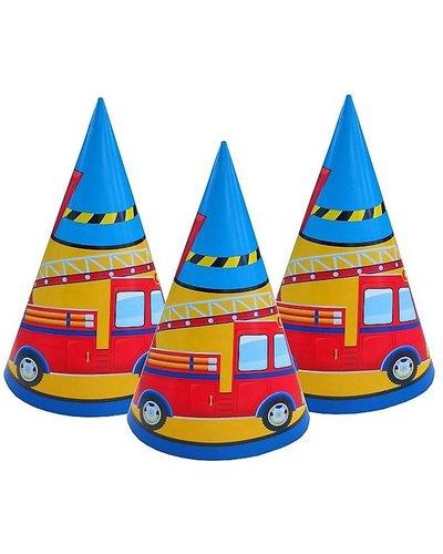 Partyhüte mit Feuerwehr-Motiv - 6 Stück