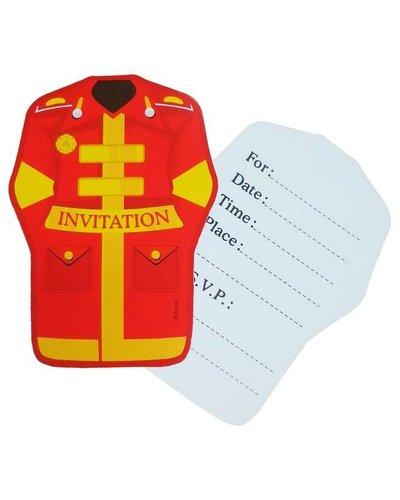 Einladungskarten mit Feuerwehr-Motiv - 6 Stück