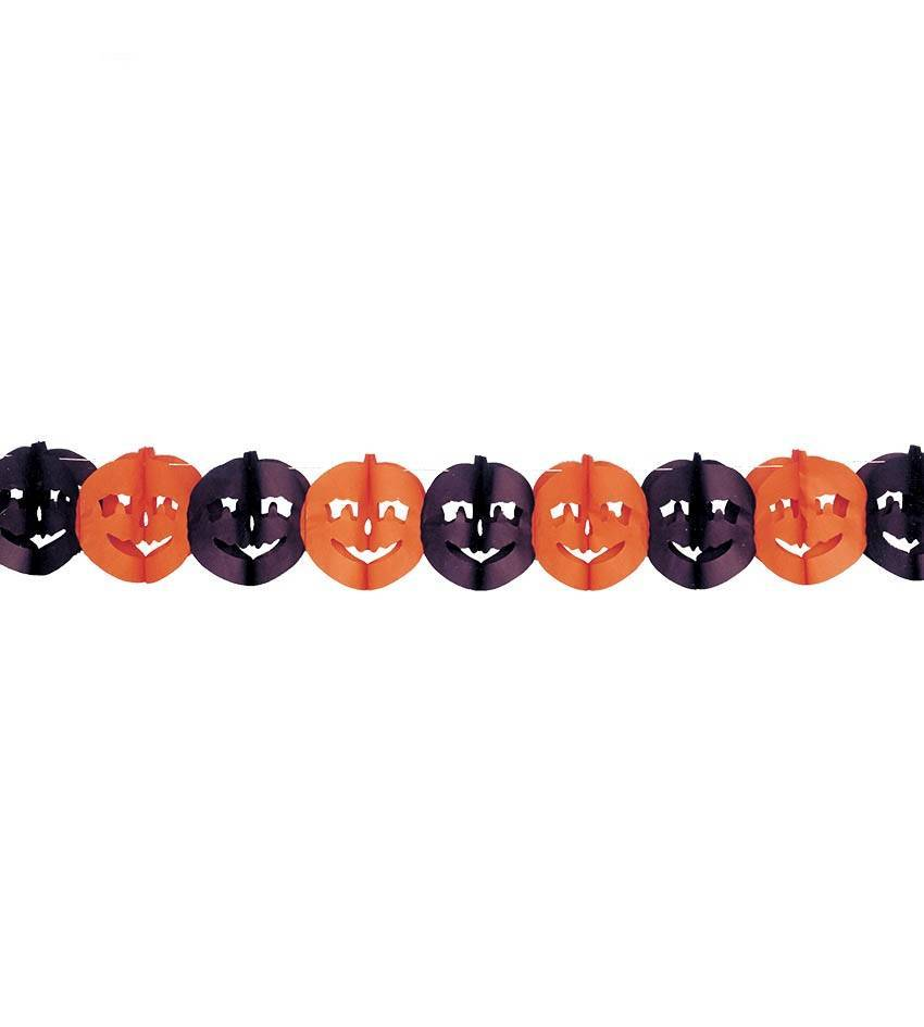 Halloween girlande mit k rbissen schwarz orange magicoo - Halloween girlande ...