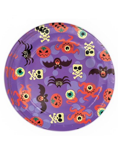 Magicoo 8 lila Partyteller mit Halloween Motiven