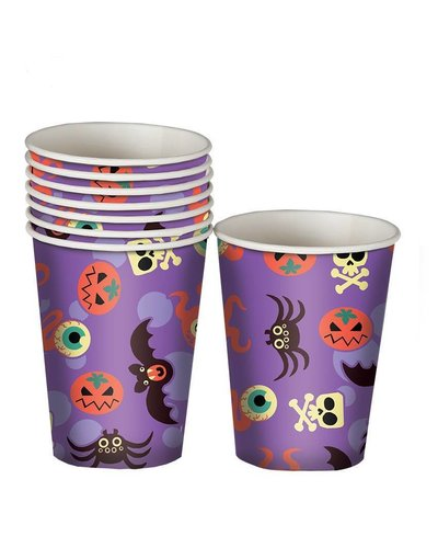 Magicoo 8 lila Partybecher mit Halloween Motiven