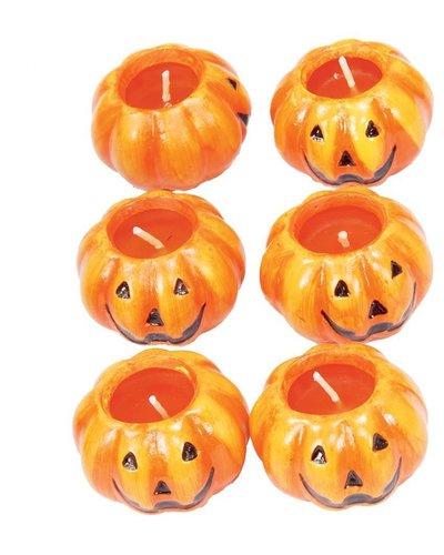 Halloween Kerzen in Kürbisform - 6 Stück