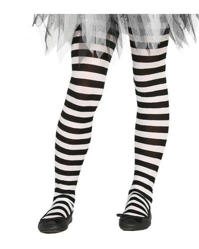 Ringel-Strumpfhose für Kinder schwarz-weiß