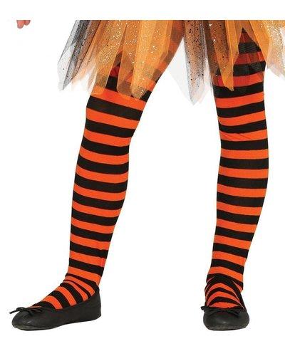 Ringel-Strumpfhose für Kinder schwarz-orange