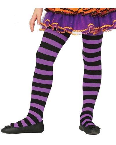 Ringel-Strumpfhose für Kinder schwarz-lila