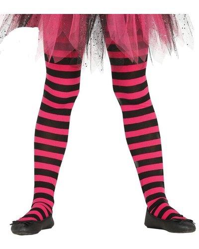 Magicoo Ringel-Strumpfhose für Kinder schwarz-pink