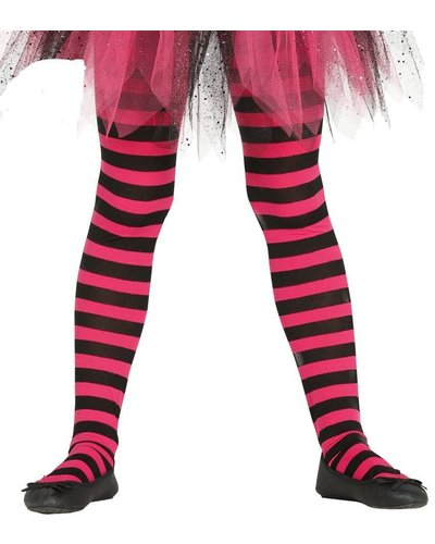 Ringel-Strumpfhose für Kinder schwarz-pink
