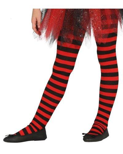 Magicoo Ringel-Strumpfhose für Kinder schwarz-rot