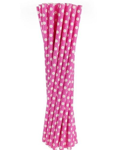 Magicoo Papierstrohhalme rosa mit Punkten - 24 Stück