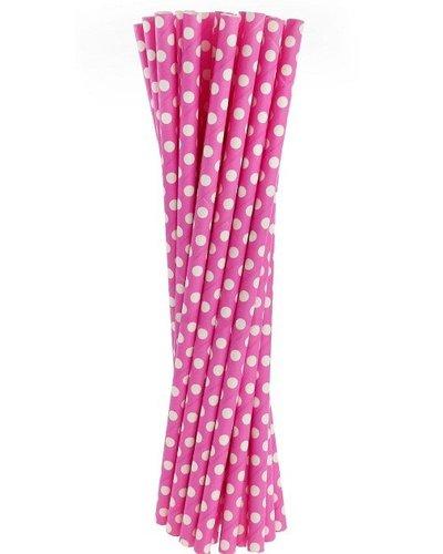 Papierstrohhalme rosa mit Punkten - 24 Stück