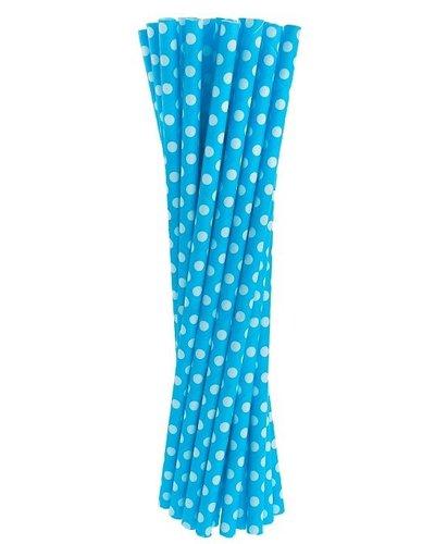 Papierstrohhalme blau mit Punkten - 24 Stück